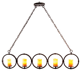 Home Accents Faux Pillar Candle Chandelier, , large