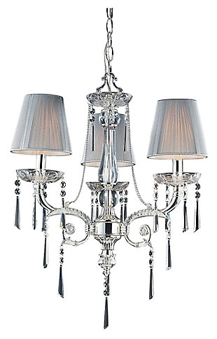 Silver Finish Chandelier With Shades, , large