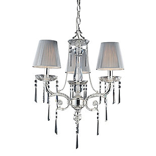 Silver Finish Chandelier With Shades, , rollover