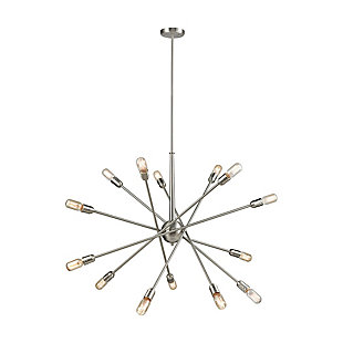 Delphine Ten Light Chandelier, Satin Nickel, large