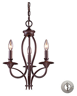 Bronze Finish Chandelier, , large
