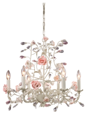 Six Light Chandelier in a Cream Finish, , large