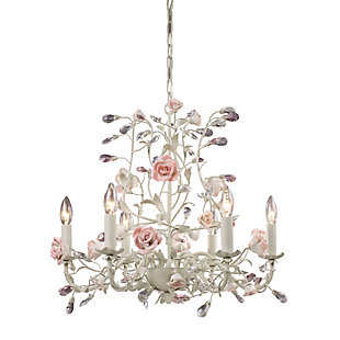 Six Light Chandelier in a Cream Finish, , rollover