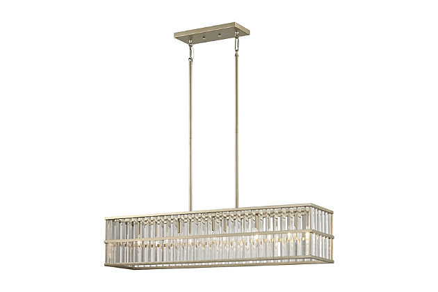Five Light Chandelier in Aged Silver With Oval Glass Rods, , large
