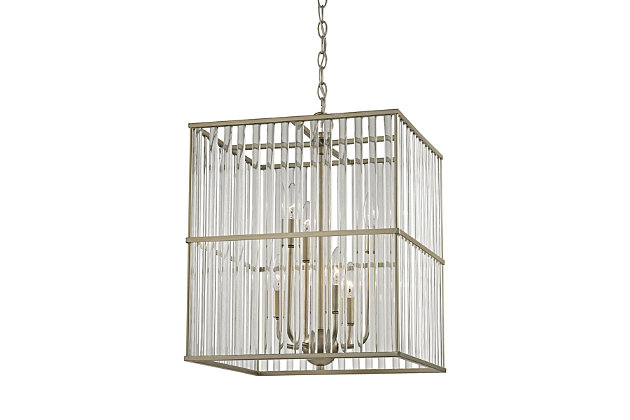 Six Light Chandelier in Aged Silver With Oval Glass Rods, , large