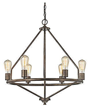 Six Light Chandelier in Windswept Silver Finish, , large