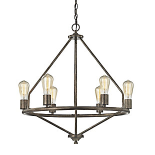Six Light Chandelier in Windswept Silver Finish, , rollover