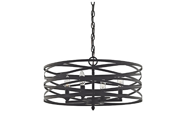 Four Light Vorticy Chandelier in Oil Rubbed Bronze Finish, , large