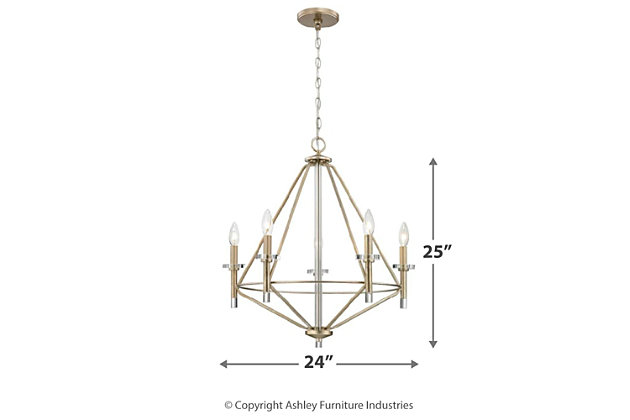 Five Light Chandelier in Aged Silver With Clear Glass Accents, , large