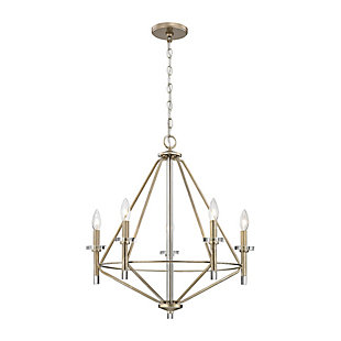 Five Light Chandelier in Aged Silver With Clear Glass Accents, , rollover