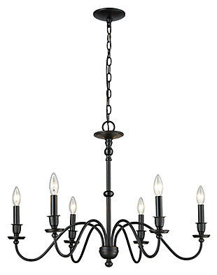 Six Light Chandelier in Matte Black, , large