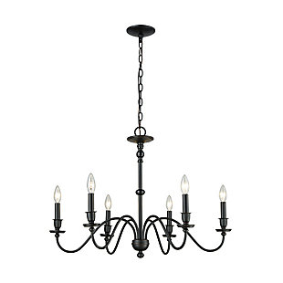 Six Light Chandelier in Matte Black, , rollover