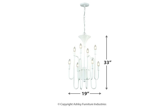 Eight Light Chandelier in Matte White, , large