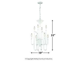 Eight Light Chandelier in Matte White, , large