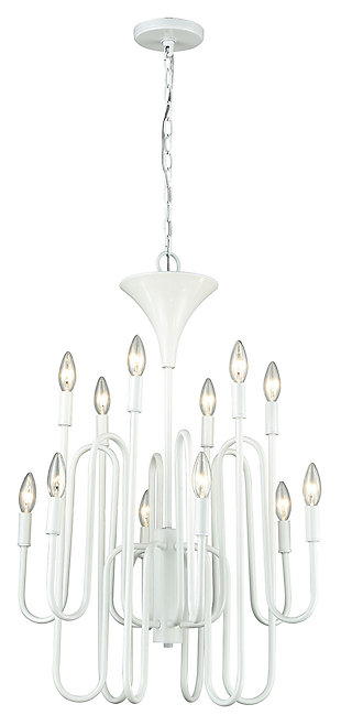 Twelve Light Chandelier in Matte White, , large