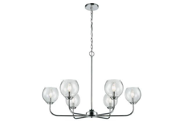 Six Light Chandelier in Polished Chrome Finish, , large