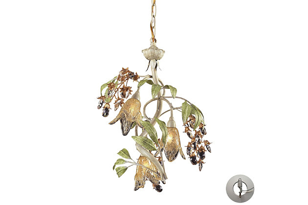 Three Light Chandelier in Seashell And Green Finish with Adapter Kit, , large