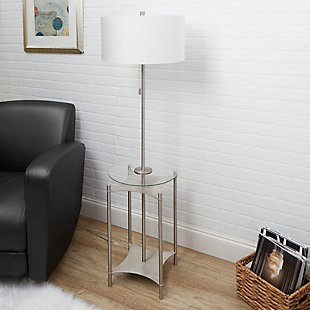 Contempo Floor Lamp with Silver Finish Side Table, , rollover