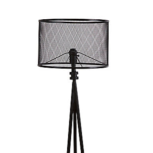 Contempo Tripod Floor Lamp with Metal Mesh Shade, , large