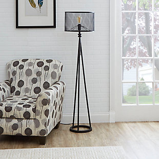 Contempo Tripod Floor Lamp with Metal Mesh Shade, , rollover