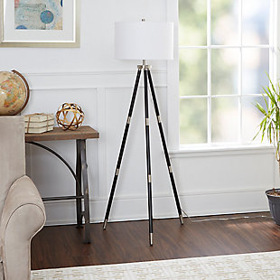 Contempo Nickel Accented Tripod Floor Lamp, , large