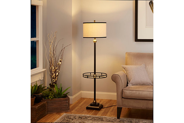Contempo Floor Lamp with Shade and Glass Tray, , large