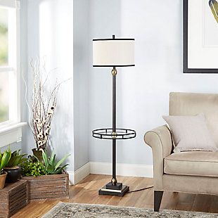 Contempo Floor Lamp with Shade and Glass Tray, , rollover