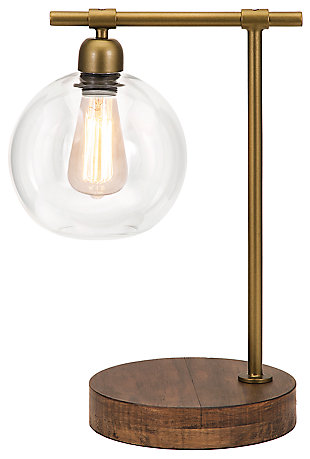 Industrial Amplitude Glass and Wood Table Lamp, , rollover
