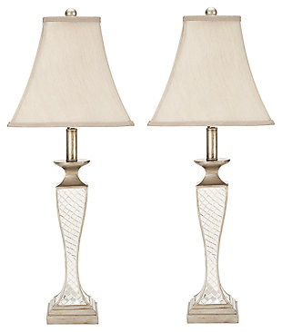 Urn Shaped Glass Lattice Table Lamp (Set of 2), , large