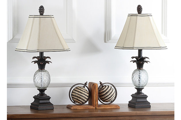 Pineapple Shaped Glass Table Lamp (Set of 2), , large