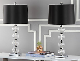 Stacked Globe Table Lamp (Set of 2), Black, rollover