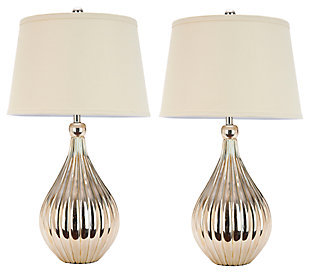 Gourd Shaped Metallic Table Lamp (Set of 2), , large