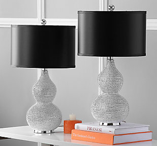 Beaded Cylinder Table Lamp (Set of 2), Black, rollover