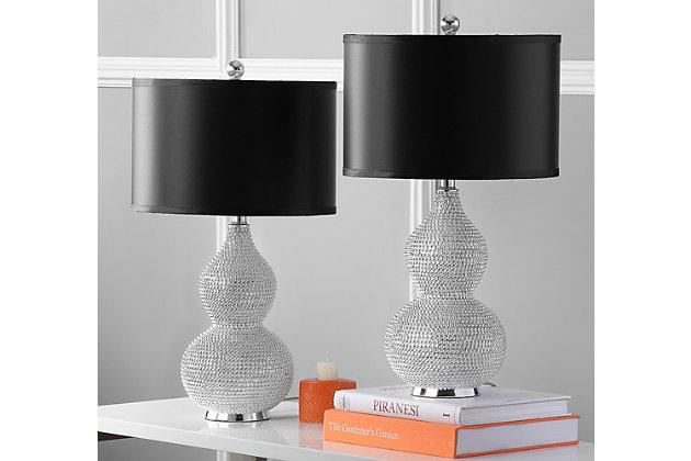 Beaded Cylinder Table Lamp (Set of 2), Black, large