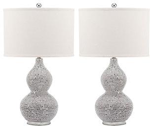 Beaded Base Table Lamp (Set of 2), White, large