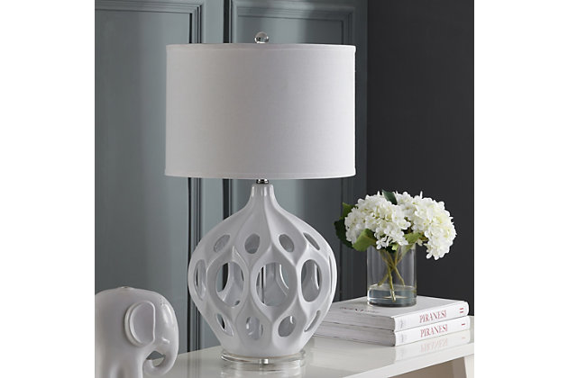Ceramic Table Lamp, White, large