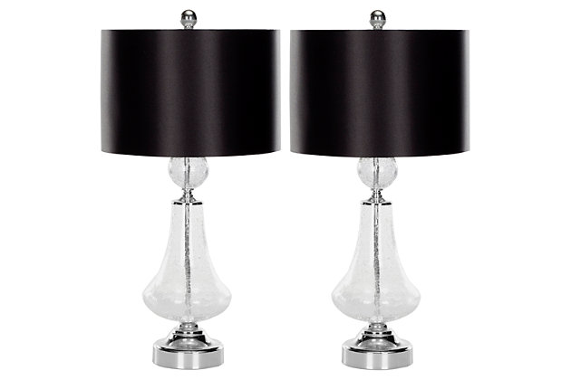 Crackle Glass Table Lamp (Set of 2), Transparent, large