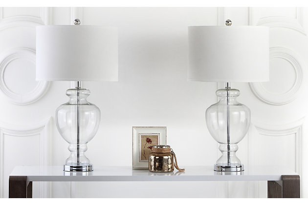 Translucent Glass Table Lamp (Set of 2), Transparent, large
