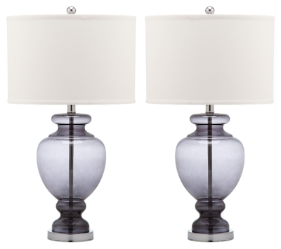 Translucent Glass Table Lamp (Set of 2), Smoke, large