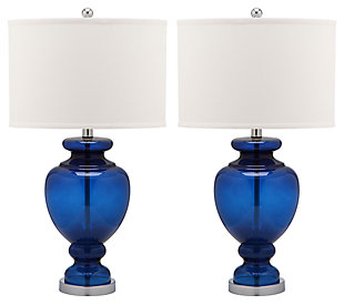 Translucent Glass Table Lamp (Set of 2), Transparent Navy, large