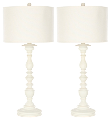 Image of Candlestick Shaped Table Lamp (Set of 2), Cream