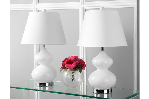 Glass Double Gourd Table Lamp (Set of 2), White, large