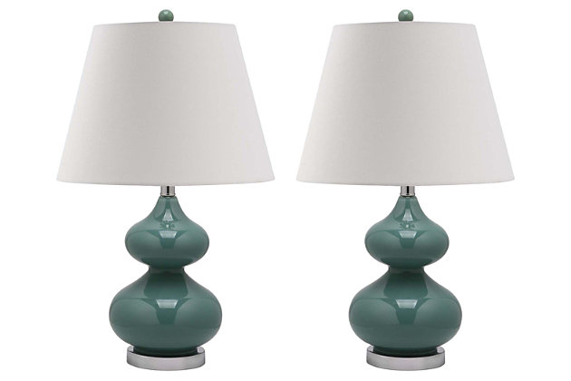 York Double Gourd Table Lamp (Set of 2), Marine Blue, large