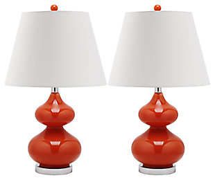 York Double Gourd Table Lamp (Set of 2), Orange, large