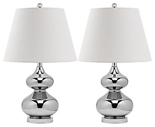 York Double Gourd Table Lamp (Set of 2), Silver, large