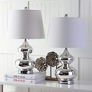 York Double Gourd Table Lamp (Set of 2), Silver, rollover