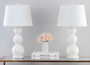 Cassie Three Sphere Glass Table Lamp (Set of 2), White, rollover
