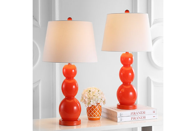 Cassie Three Sphere Glass Table Lamp (Set of 2), Orange, large