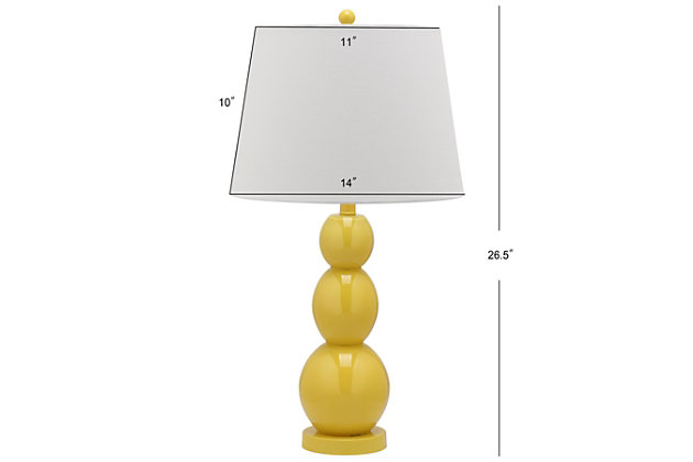 Cassie Three Sphere Glass Table Lamp (Set of 2), Yellow, large