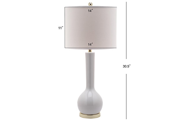 Luz Long Neck Ceramic Table Lamp (Set of 2), White, large